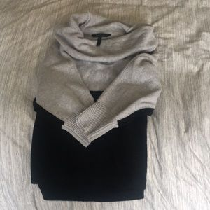 BCBG Cowl Neck gray/black Color Block Sweater